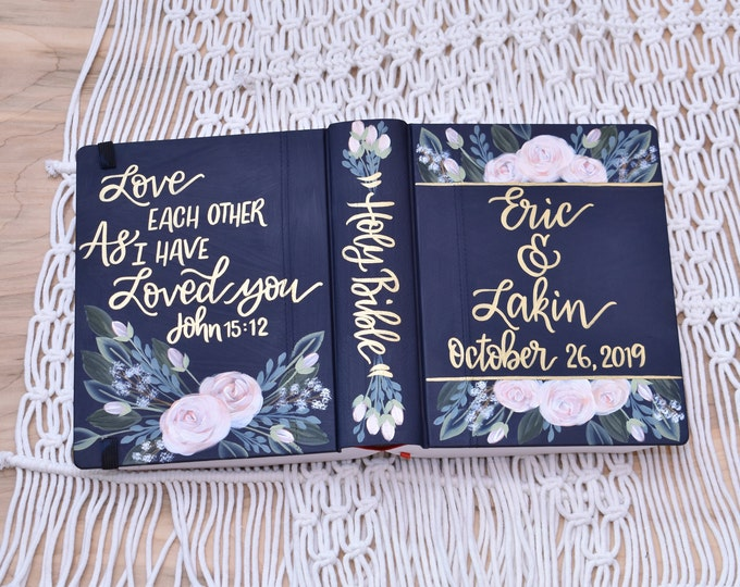 Hand Painted Bible // Wedding Bible // Personalized Keepsake
