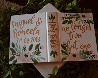 Custom Hand Painted Bible | No longer two, but one | Wedding or Anniversary Gift | Personalized Bible Keepsake