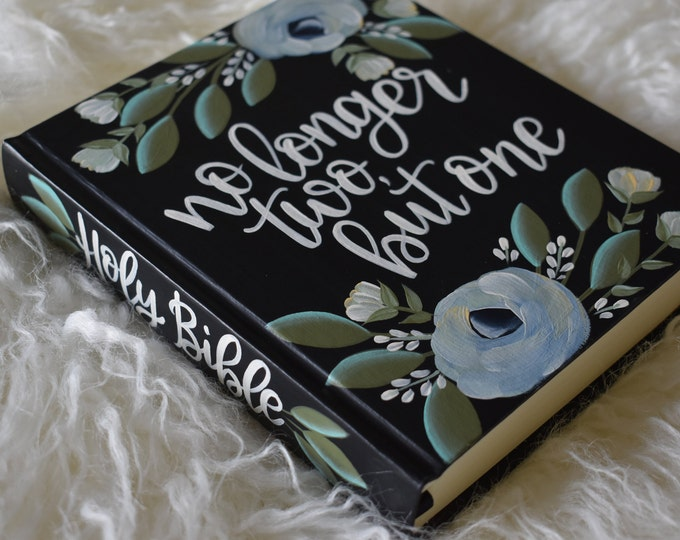 Custom Hand Painted Bible | Guest Book Alternative | no longer two but one | Personalized Keepsake