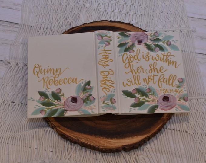 Hand Painted Bible, Baptism Bible, Graduation Gift, Custom Personalized Keepsake