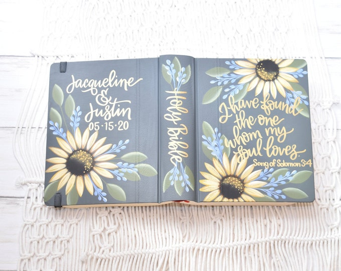 Hand Painted Bible, Sunflowers, Personal Bible, Personalized Keepsake