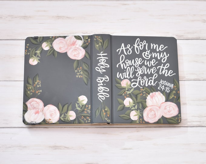 Hand Painted Bible // Specialized Floral Design // Peony Florals // Mothers Bible // Personal Keepsake