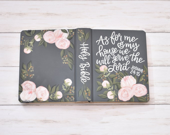 Hand Painted Bible, Specialized Floral Design, Peony Florals, Custom Personal Keepsake