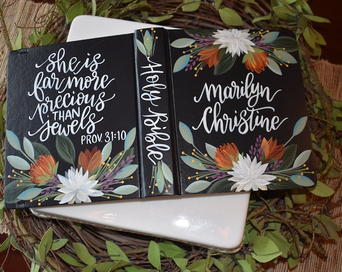 Hand Painted Bible // Specialized Floral Design // she is more precious than jewels // Proverbs 31:10 // Personal Keepsake