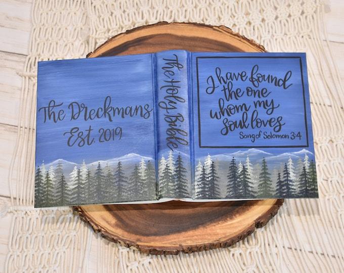 Hand Painted Bible // Mountain Landscape // Pine Trees // Personalized Keepsake
