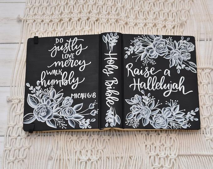Hand Painted Bible // Holy Bible // Personalized Keepsake