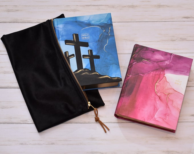 Hand Painted Bible // Marble Design Bible // Three Crosses // Personalized Keepsake