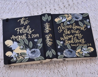 Hand Painted Bible // Wedding Gift // Guest Book Alternative // Personalized Wedding Keepsake