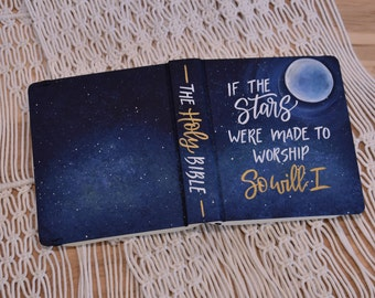 Hand Painted Bible // Galaxy Star Bible // Moon // Quick Ship // Personalized Keepsake