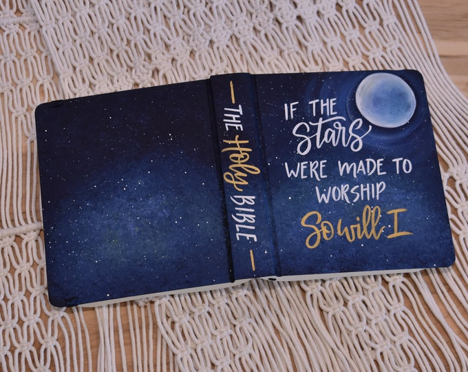 Hand Painted Bible // Galaxy Star Bible // Moon // Personalized Keepsake