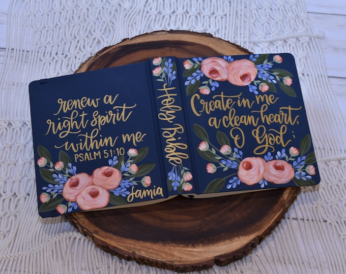 Hand Painted Bible // Custom Bible // Holy Bible // Personal Keepsake