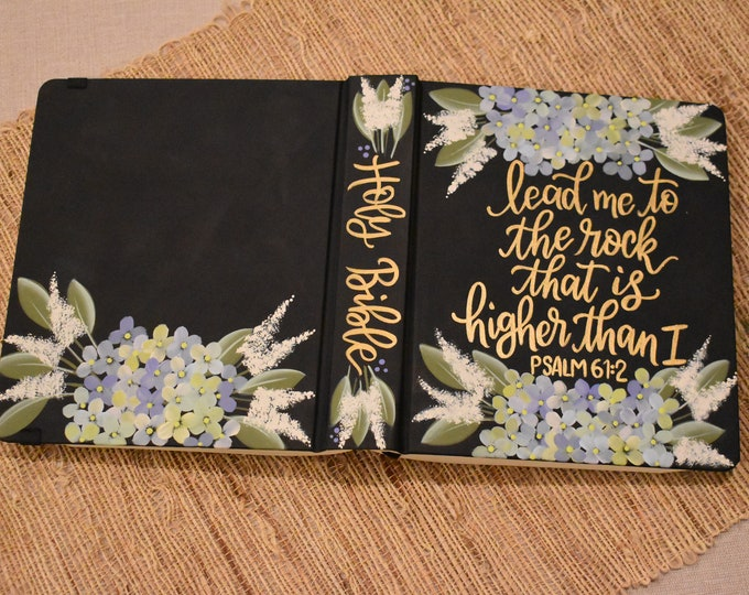 Hand Painted Bible // Hydrangea Florals // lead me to the rock that is higher than I // Personalized Keepsake
