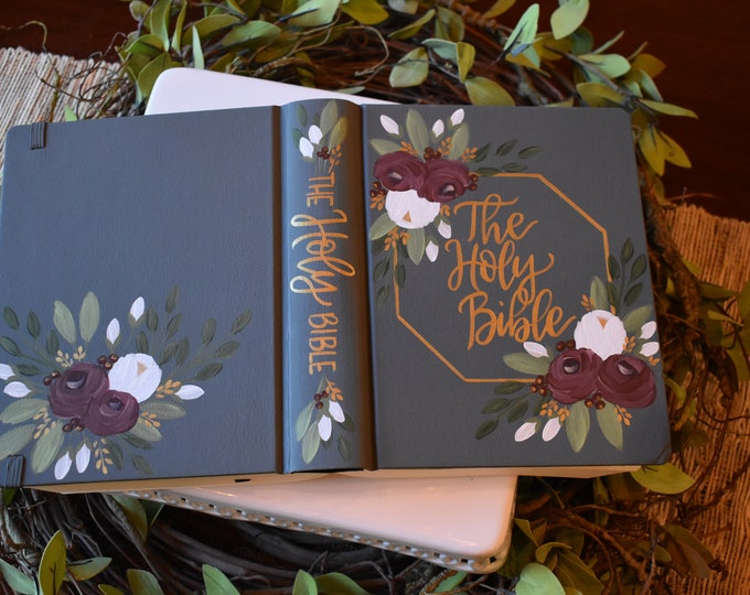 Custom Hand Painted Bible | The Holy Bible | Personalized Keepsake