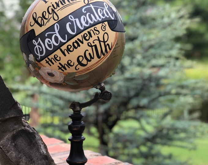 World Globe // Decorative World Globe // Hand Painted and Hand Lettered