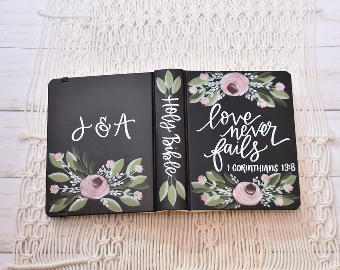 Hand Painted Bible // Wedding Guest Book Alternative // Holy Bible // Personalized Keepsake