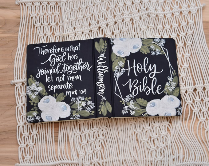 Hand Painted Bible // Wedding Guestbook Alternative // Personalized Keepsake