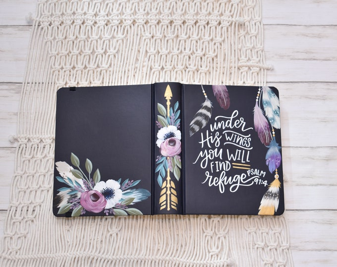 Hand Painted Bible // Quick Ship // Specialized Floral Design // Boho Style // Feathers and Florals // Personal Keepsake
