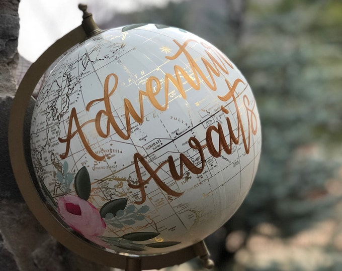 World Globe // Customize and Personalize // Cream White and Gold // Hand Painted Florals and Lettering