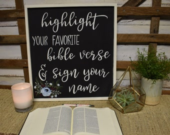 Highlight your favorite bible verse and sign | Custom Wedding Guest book sign | Wedding Details | Hand Painted