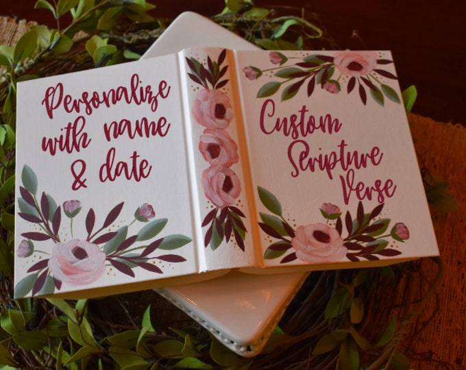 Custom Hand Painted Bible | Wedding Guestbook Alternative | Mother's Gift | Personalized Keepsake