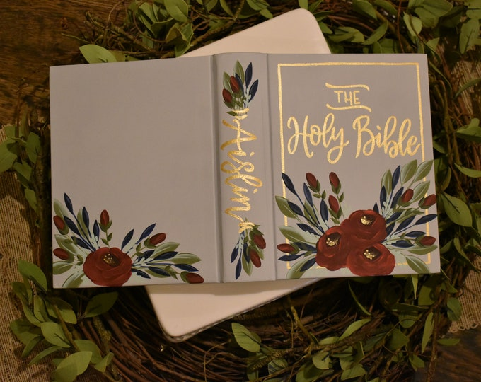 Hand Painted Bible // Holy Bible // Personalized Bible Keepsake