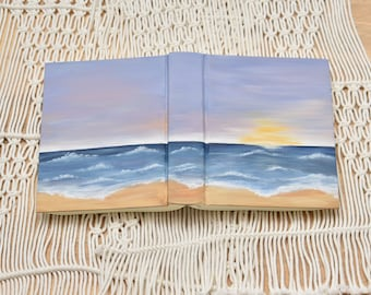 Hand Painted Bible // Beach scene // Sunset // Personalized Keepsake