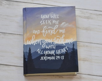 Hand Painted Bible, Blue Mountains Landscape Bible, Sunset, Personalized Keepsake