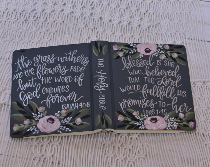 Hand Painted Bible // Song of Solomon 3:4 // Wedding Guest Book Alternative // Personalized Keepsake