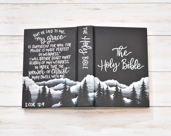"Hand Painted Bible, Mountain Landscape, Catholic ""Blessed is She"" Bible, Personalized Keepsake"