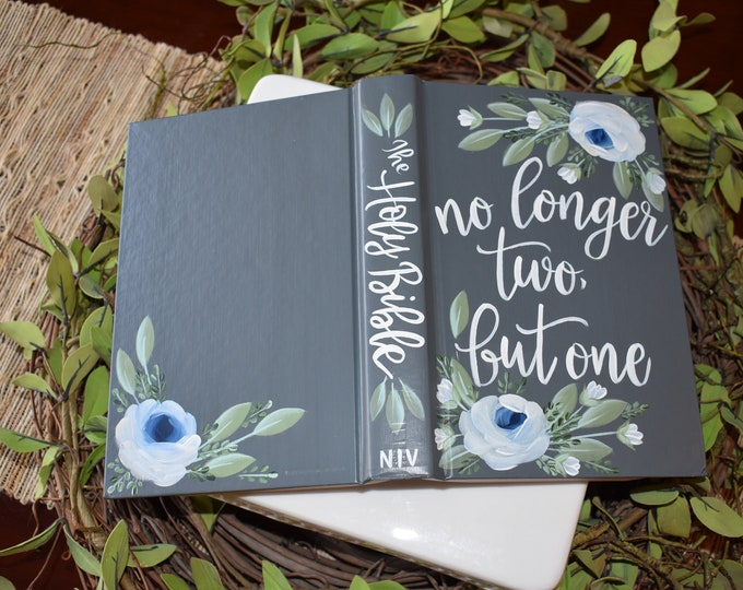 Custom Hand Painted Bible | Wedding Guestbook | No longer two but one | Personalized Keepsake