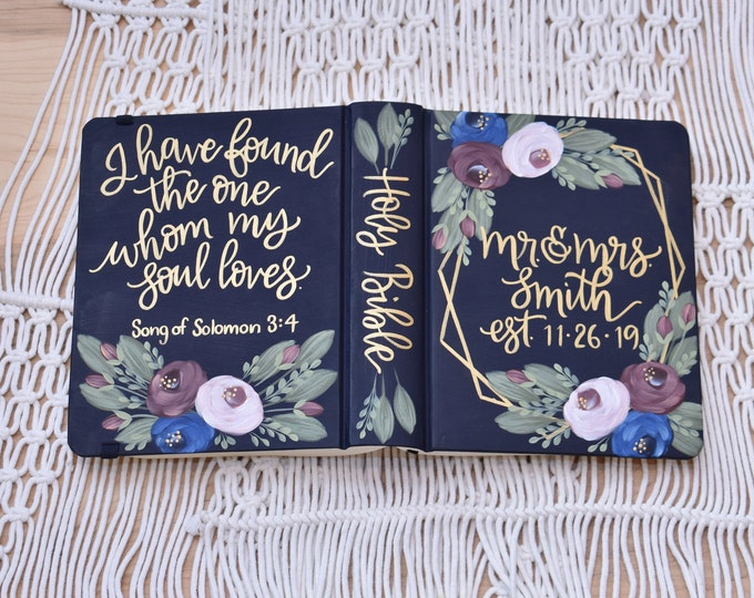 Hand Painted Bible, Mr & Mrs, Guest Book Alternative, Wedding, Personalized Wedding Keepsake