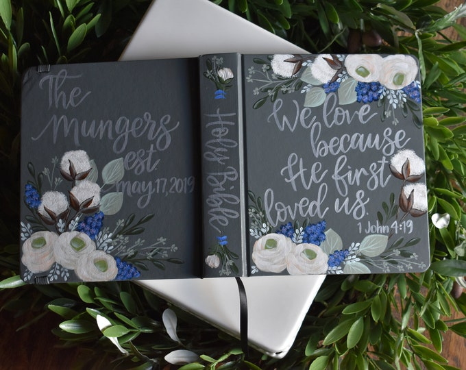 Custom Hand Painted Bible | Specialized Floral Design | Cotton Florals | Personal Bible Keepsake