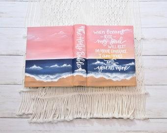 Hand Painted Bible // Beach scene // Personalized Keepsake