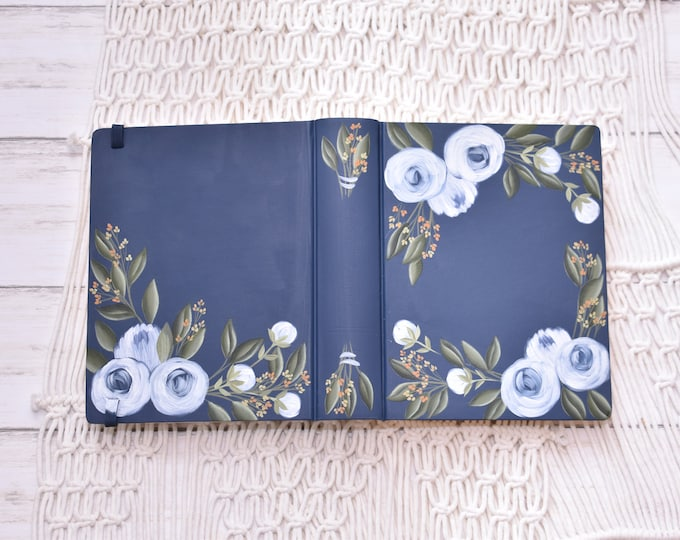 Hand Painted Bible, Specialized Floral Design, Peony Florals, Family Bible, Personal Keepsake