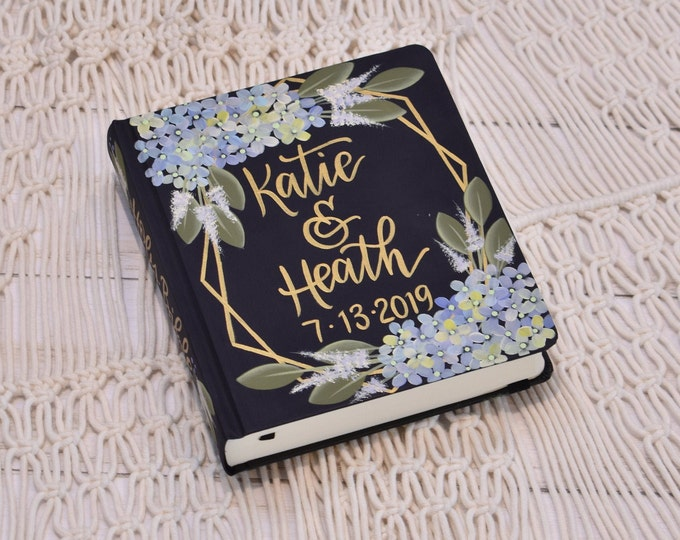 Hand Painted Bible // Hydrangea Florals // Wedding Guestbook Alternative // Personalized Keepsake