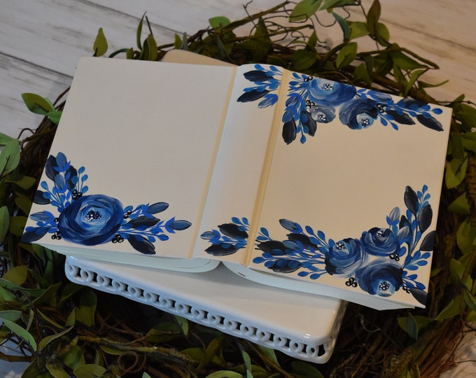 Hand Painted Bible // Navy Florals // Personalized Gift // Personal Keepsake