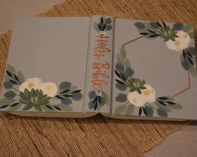 Hand Painted Bible // Specialized Floral Design // Succulents //Roses // White Orchid // Personal Keepsake