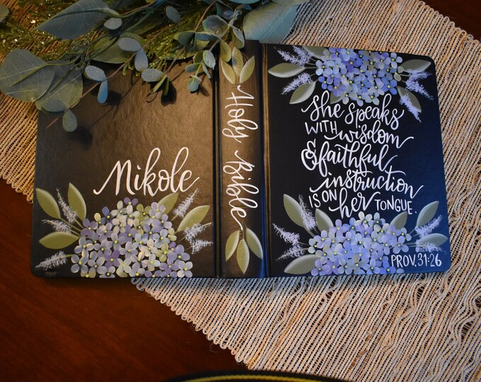 Hand Painted Bible // Hydrangea Florals // Personalized Keepsake