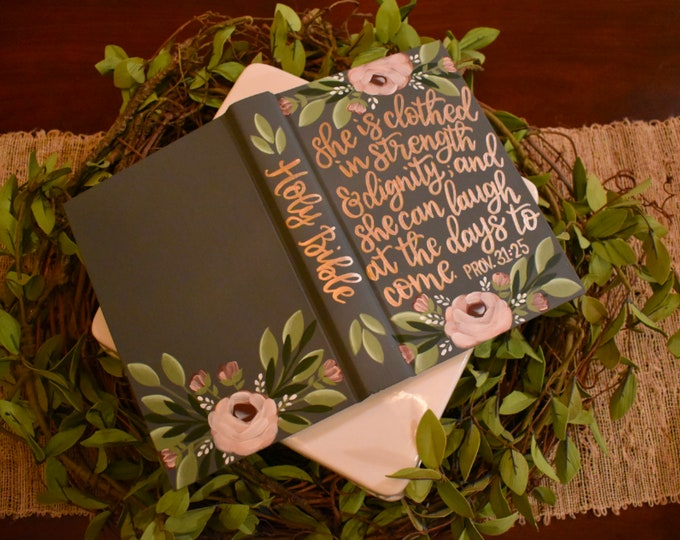 Hand Painted Bible | Baptism Gift | Graduation Gift | Custom Scripture Options | Personalized Keepsake