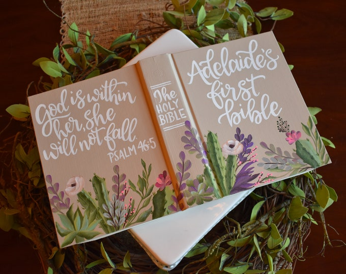 Hand Painted Bible // Specialized Floral Design // Cactus and Succulents // Personalized Keepsake