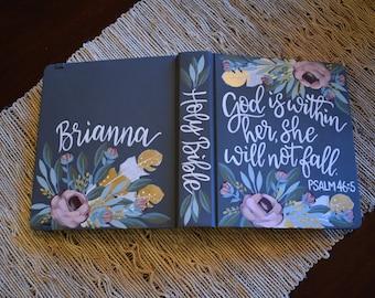 Hand Painted Bibles // Graduation // Baptism // Holy Bible // Personalized Keepsake