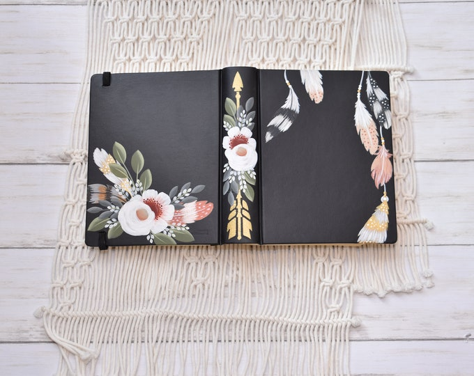 Hand Painted Bible, Specialized Floral Design,  Boho Style, Feathers and Florals, Custom Personal Keepsake