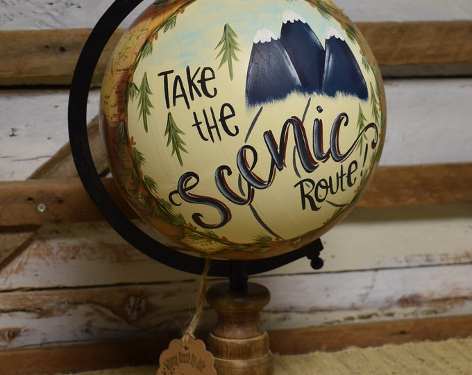 World Globe // Travel Theme // Mountains // Home Decor // Hand Painted and Hand Lettered