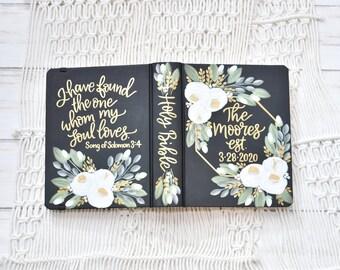Hand Painted Bible // White Roses // Wedding Bible // Custom Personalized Keepsake