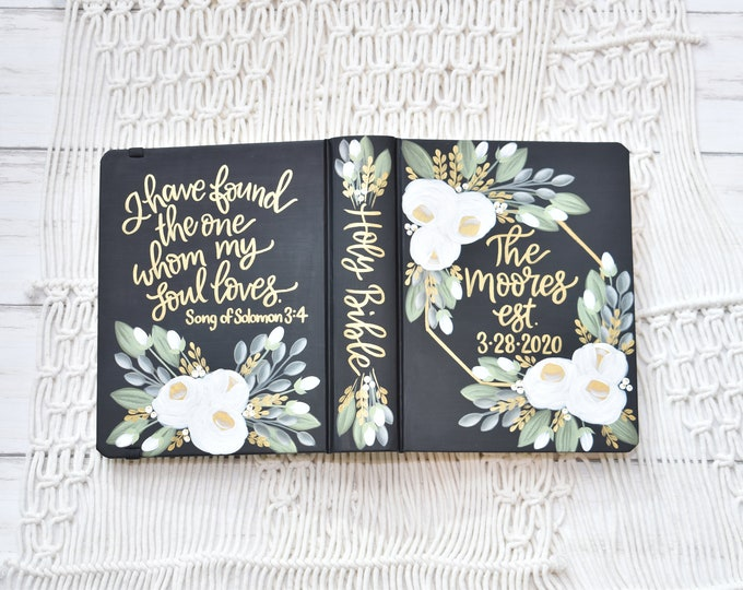 Hand Painted Bible, White Roses,  Wedding Bible, Custom Personalized Keepsake