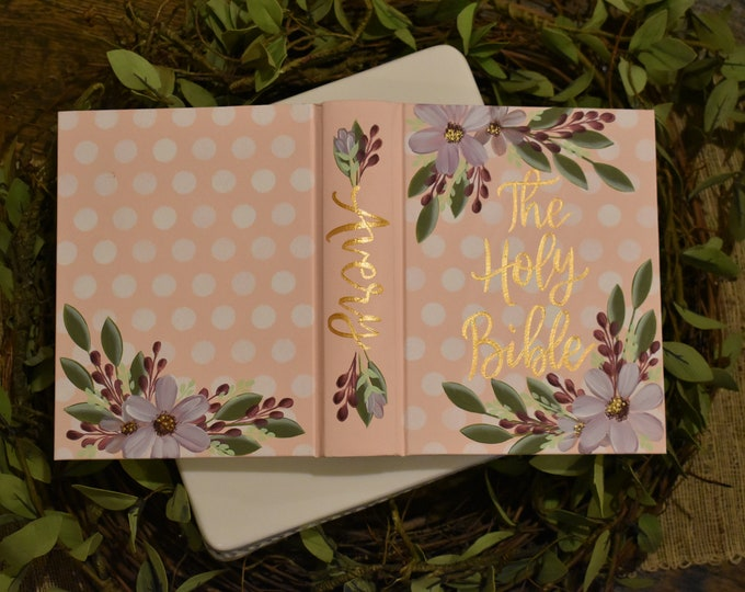 Hand Painted Bible // Baby's Bible // Holy Bible // Personalized Bible Keepsake