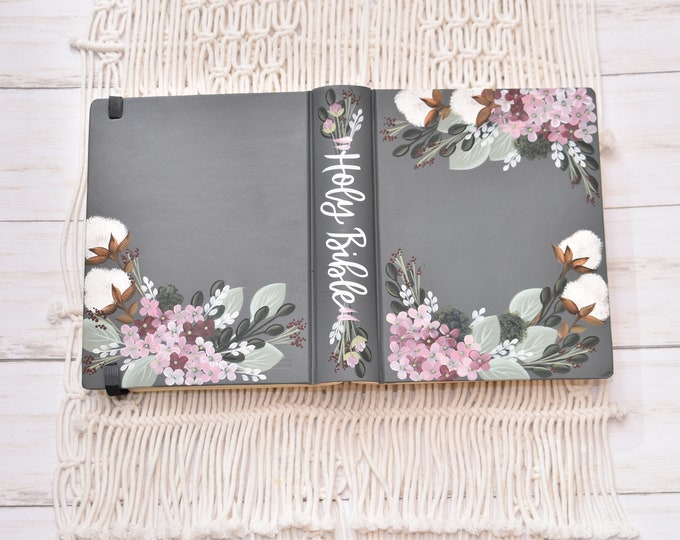 Custom Hand Painted Bible, Specialized Floral Design, Cotton Stems and hydrangeas, Personal Bible Keepsake