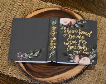 Custom Hand Painted Bible   Wedding Guest Book Alternative   Personalized Keepsake