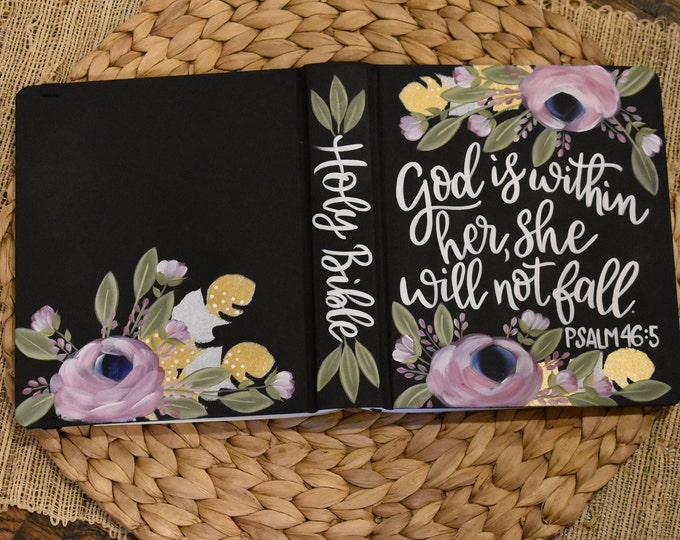 Hand Painted Bible | God is within her she will not fall | Baptism Gift | Graduation Gift | Mother's Day Gift | Personalized Keepsake
