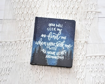 Hand Painted Bible, Landscape Bible, Night Sky Pines, Isaiah 43:2, Personalized Keepsake
